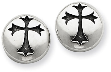 Antiqued Fleur-de-Lis Cross Sterling Silver Stud Earrings