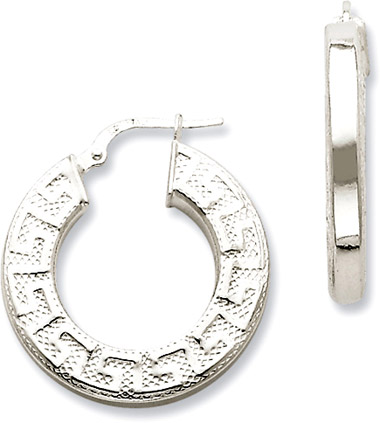 Sterling Silver Greek Key Design Hoop Earrings