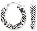 Antiqued Sterling Silver Twisted Hoop Earrings