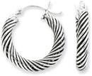 Antiqued Sterling Silver Twisted Hoop Earrings