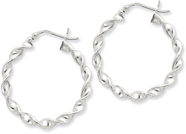 Sterling Silver Tiwsted Hoop Earrings - 1 1/4