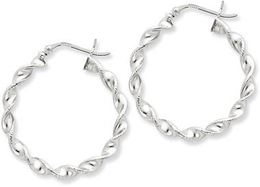 Sterling Silver Tiwsted Hoop Earrings - 1 1/4