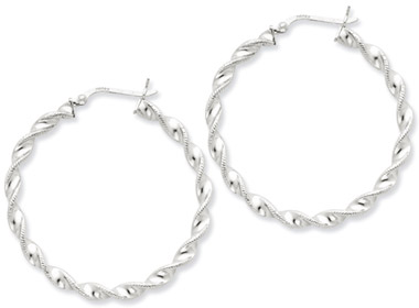 Sterling Silver Twisted Hoop Earrings - 1 3/4