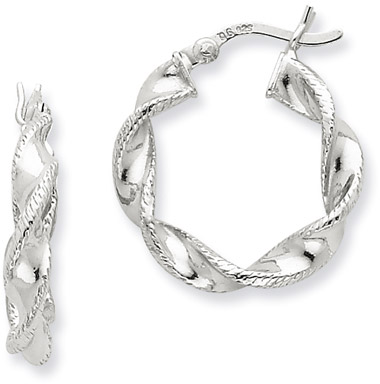 Sterling Silver Twisted Hoop Earrings - 3/4