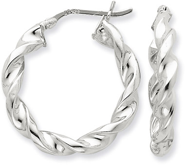 Sterling Silver Twisted Hoop Earrings - 1