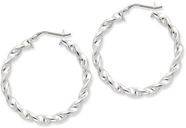 Sterling Silver Twisted Hoop Earrings - 1 1/2