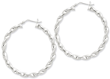 Sterling Silver Twisted Hoop Earrings - 1 13/16