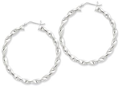 Sterling Silver Twisted Hoop Earrings - 1 13/16