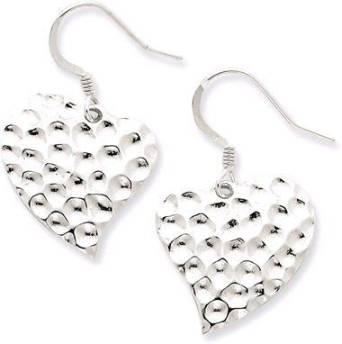 Hammered Sterling Silver Heart Earrings