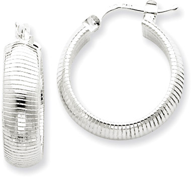Sterling Silver Textured Hoop Earrings