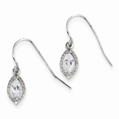 Marquise-Cut Aquamarine and Sterling Silver Earrings