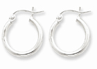 2mm Round Hoop Earrings in Sterling Silver