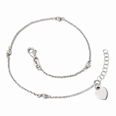 Sterling Silver Adjustable Anklet with Heart Clasp