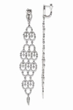 Sterling Silver and CZ Chandelier Earrings with Hinged Post