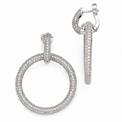 Sterling Silver and CZ Hinged Hoop Dangling Earrings