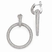 Sterling Silver and CZ Hinged Hoop Dangling Earrings