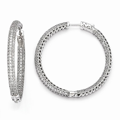 Sterling Silver and CZ Hinged Hoop Earrings