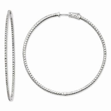 Sterling Silver and CZ Large Hinged Hoop Earrings