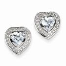 Sterling Silver Aquamarine Teardrop Heart Post Earrings