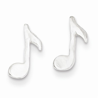 Musical Note Mini Earrings in Sterling Silver