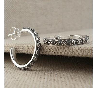 Handmade Oxidized Flower Hoop Earrings in Sterling Silver