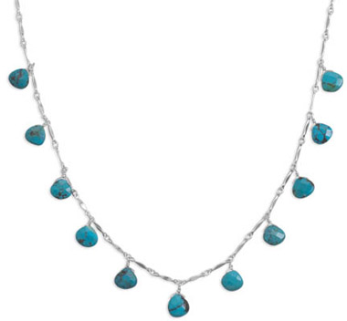 Sterling Silver and Faceted Turquoise Necklace