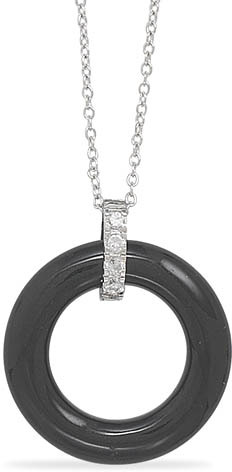 Black Onyx Circle Necklace with CZ Accent
