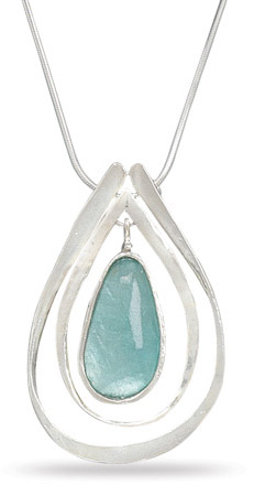 Ancient Roman Glass and Sterling Silver Cut Out Pendant