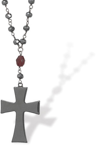 Hematite and Garnet Cross Necklace