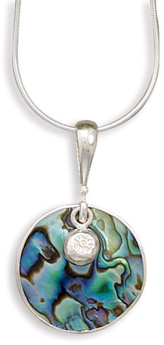 Paua Shell and Charm Necklace in Sterling Silver