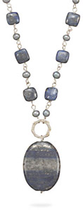 Lapis and Grey Freshwater Pearl Necklace