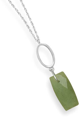 Faceted Green Aventurine Drop Necklace