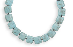 Square Turquoise Bead Necklace