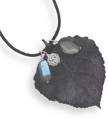 Gunmetal Plated Leaf with Gemstone Charms