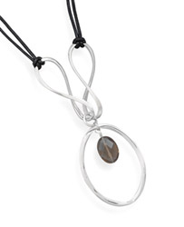 Sterling Silver and Faceted Smoky Quartz Necklace