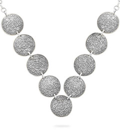Antiqued Floral Disc Necklace in Sterling Silver