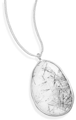 Rutilated Quartz Pendant in Sterling Silver