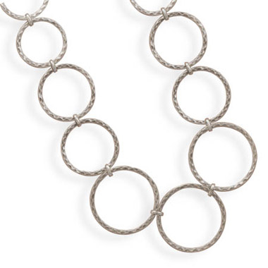 Graduated Hammered Ring Sterling Silver Necklace