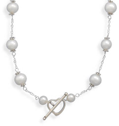 White Cultured Freshwater Pearl Heart Toggle Necklace