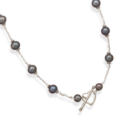 Peacock Cultured Freshwater Pearl Heart Toggle Necklace