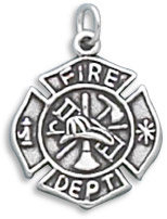 Sterling Silver Firefighter Maltese Cross Charm