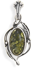 Green Amber Leaf Design Pendant in Sterling Silver