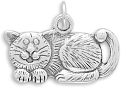 Antiqued Sterling Silver Cat Charm