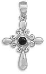 Fancy Sterling Silver and Black Onyx Cross Pendant