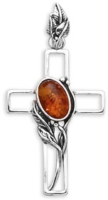 Antiqued Sterling Silver Amber Cross Pendant