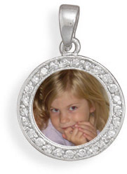 Round CZ Picture Frame Pendant in Sterling Silver