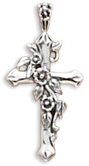 Floral Vine Cross in Sterling Silver