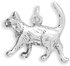 Sterling Silver Walking Cat Charm