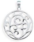 Swirl Design Sterling Silver Pendant