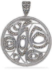 Round Sterling Silver Marcasite Pendant